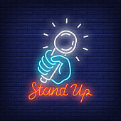 Stand Up Neon Sign with Microphone