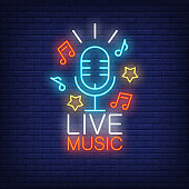 Live Music Neon Sign with Microphone