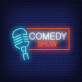 Comedy Show Neon Sign with Microphone
