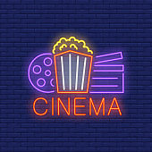 Cinema Neon Sign with Popcorn Box