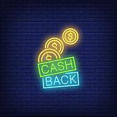 Cash back coins neon sign