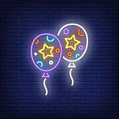 Festive balloons neon sign