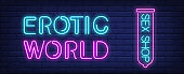 Erotic world of sex shop neon sign