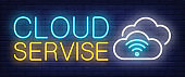 Cloud service neon sign