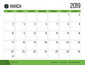 Vector of modern green calendar 2019 ( March ) in simple clean table style.full size 21 x 16 cm; Week start on Sunday.