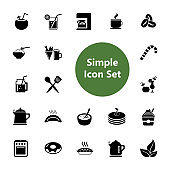 Food, drinks and utensils icon set. Cooking and kitchen appliances