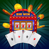 Big win lettering on slot machine, four aces