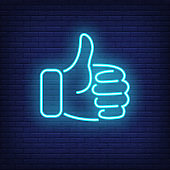 Thumb up shape. Blue neon sign element
