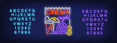 Neon alphabet and Cinema Night text with popcorn, drink, reel and tickets. Signboard template