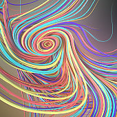 Interlacing abstract colored curves. 3D rendering