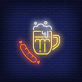 Beer and sausage neon sign