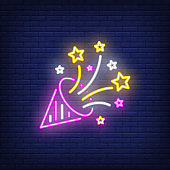 Party hat neon sign