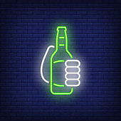 Hand with beer bottle neon sign