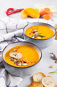 Squash Soup with Rosemary and Paprika. Traditional fall and winter spicy dishes