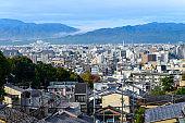 aerial skyline of Kyoto cityscape view from Kiyomizu-dera shrine in autumn season, Kyoto, Japan