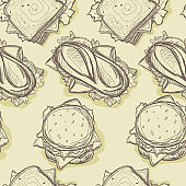 pattern fast food hamburger hot dog sandwich drawing graphic background objects