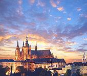 Close-up on Prague at sunset