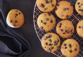 Twelve freshly baked choco chip muffins cooling off on wire mesh on dark background with linen towel