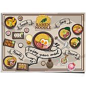 menu ramen noodle japanes food design template graphic