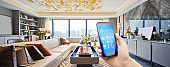 smart home system on mobile phone with background