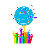 Hands twirl the globe with flying birds. World Environment Day background.