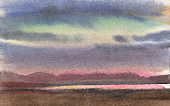Watercolor painting, landscape, Sunset. River Bank, lake, pond with mountains on the horizon against the pink sky.