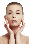 Beauty woman face portrait. Beautiful spa model girl with perfect fresh clean skin