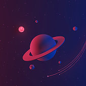 Space or galaxy background with planet and star.