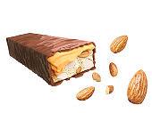 Chocolate bar caramel with nut or almond.