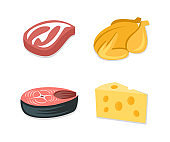 Food icon set, bacon steak, grilled chicken, fish steak, slice of cheese. Food ingredient, meal, meat and dairy products, vector design, illustration