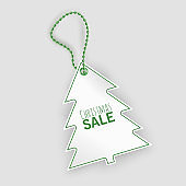 A tag with shape of christmas tree, Christmas sale tag on white background, vector illustration
