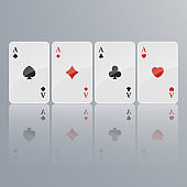 Playing cards falling on light background. isometric and 3D. Vector illustration