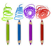 Realistic Set of Colorful Colored Pencils, Crayons with Brush Strokes Background, Back to School art. Vector Illustration