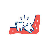 Wisdom tooth icon or third molar, toothache, jaw pain. Vector flat illustration