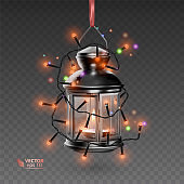 The Magic lamp of black color, surrounded by luminous garlands, realistic lamp on transparent background, vector illustration