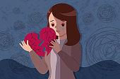 woman hold broken heart