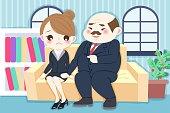 cartoon boss harassing woman