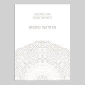 Template for greeting and business cards, brochures, covers with floral motifs. Oriental lace pattern. Lacy mandala. Wedding invitation, save the date,RSVP.