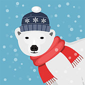 Icebear with red scarf and blue winter cap flat design blue background with snow flakes