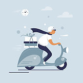 Scooter riding man.