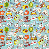 Seamless pattern with travel doodles. Can be used for wallpaper, pattern fills, textile, web page background, surface textures.