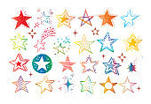 Collection of colored doodle stars on white background