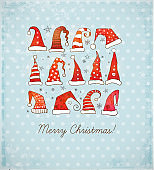 Greeting Christmas card with collection of red christmas hats on blue vintage background. Vector illustration.
