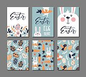 Happy Easter greeting card with rabbit, bird and lettering text. Set of 6 postcard templates with message.