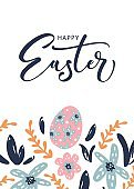 Happy Easter greeting card with calligraphic hand written phrase, holiday poster. Typography design. Vector illustration.