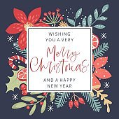 Merry Christmas calligraphy with hand drawn decorative frame. Vintage style.