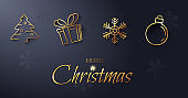 A festive banner prepared for social media with a golden Christmas symbols. Modern vector illustration.