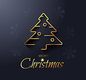 Christmas card with a golden Christmas tree. Modern vector illustration.