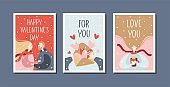 Valentine's day greeting card set with people. Romantic couple.