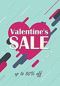 Valentine's Day sale background. Concept for Valentines web banner, flyer, poster.